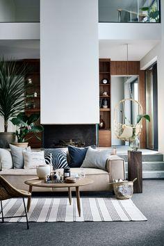 Pruhovaný bavlnený koberček - prírodná biela/antracitová - HOME | H&M SK