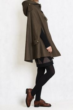 "ouyangdan  "" alliartist  "" felaxx  "" CapeWinter hoodie Coat in Green by  RenzRags 924203607fb8"