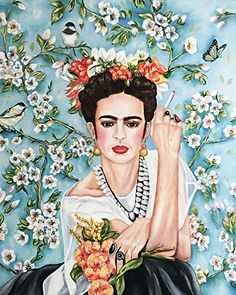 The Feminist - Portrait of Frida Kahlo Fine Art Print by k Madison Moore by k Madison Moore Archival Inks ~ x