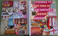 Good mood pages, happy place pages - with magazine cut outs