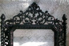 Large Vintage Glossy Black Mirror, Ornate Mirror, Wall Mirror, Victorian, Gothic, Paris Apartment, Hollywood Regency Decor