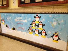 Winter Bulletin Board Ideas   Winter / January   like these penguins with scarf/hats