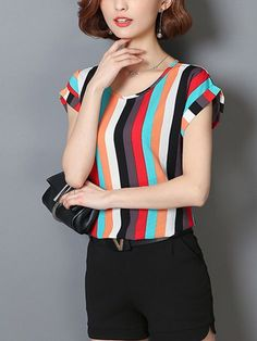 Specifications Product Name: Colorful Vertical Striped Cuffed Sleeve Blouse Weight: Sleeve: Short Sleeve Sleeve Type: Cuffed Sleeve Material: Polyester Cheap Blouses, Shirt Blouses, Blouses For Women, Blouse Styles, Blouse Designs, Vertical Stripes, Blouse Online, Types Of Sleeves, Size Chart
