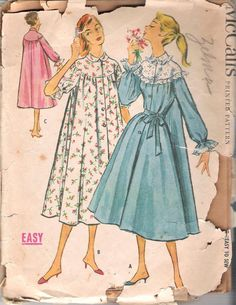 McCall's 3902 Vintage 1950's Housecoat or Peignoir; Size 14
