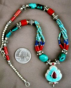 Tibetan Gau Turquoise Necklace - Handcrafted Tibetan Jewelry