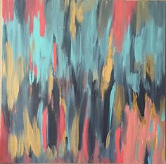 Beautiful Abstract Canvas Painting with Blue, Pink & Gold tones. #etsyfinds Etsy shop https://www.etsy.com/listing/246615811/original-canvas-painting-abstract