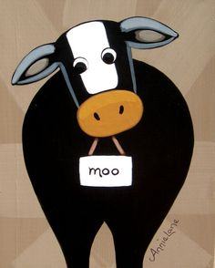 """ COWORD "" ( Cow Humor ), Whimsical Cow Art. Painting by Folk Artist Annie Lane"