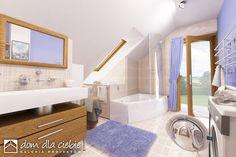 Nowinka III - optymalny projekt domu dla 4-5 osobowej rodziny. Tani w realizacji i ekonomiczny w eksploatacji. Zapraszam do zapoznania się z projektem.  Wizualizacja wnętrza - łazienka na poddaszu.