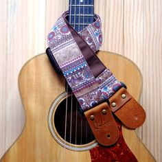 Brown Retro Style Guitar Strap by Qilinlibrary on Etsy