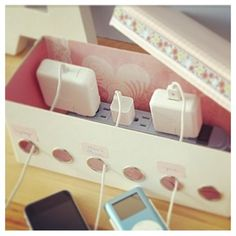 Very pretty way to organize all your chargers and cables in one place!
