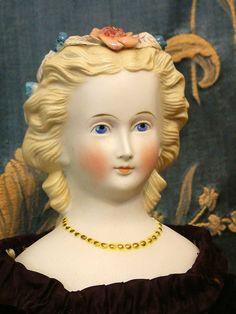 "parian dolls | Spectacular 19"" Blond Parian doll All Original-Applied Flowers In Hair"