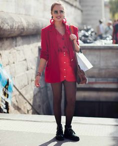 Fun red via stockholm streetstyle