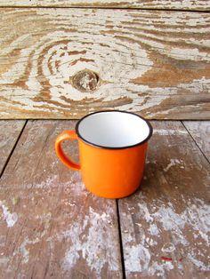 Bright Orange Enamel  Mug