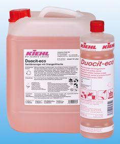 Duocit Eco este un detergent sanitar cu miros persistent de portocale care se utilizeaza contra depunerilor de calcar, protejand suprafetele curatate.
