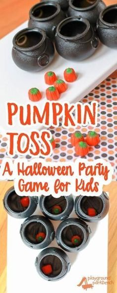 Work on fine and gross motor skills with play! A perfect addition to any preschool Halloween party or October child's birthday party, this simple game is fun for kids of all ages. Pumpkins Halloween Party Games Preschool Games for Kids Halloween Party Games, Halloween Tags, Halloween Class Party, Hallowen Costume, Kids Party Games, Halloween Birthday, Holidays Halloween, Halloween Pumpkins, Halloween Cupcakes