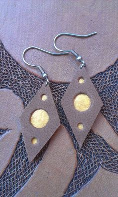 Week 12 - Earrings - Brown leather and gold paint
