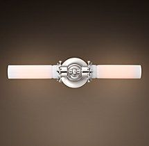 Edison Milk Glass Inline Double Sconce