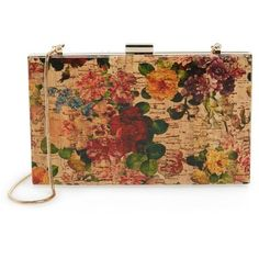 Sondra Roberts Floral Cork Clutch (105 AUD) ❤ liked on Polyvore featuring bags, handbags, clutches, cork purse, floral crossbody, beige purse, vintage purse and floral purse