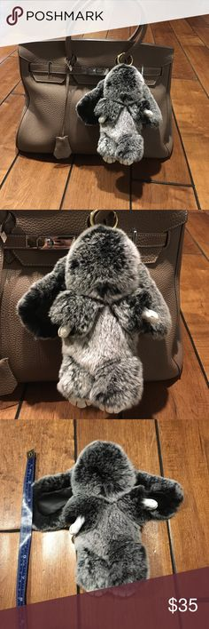 Rabbit, bag or key Real fur with leather Accessories Key & Card Holders
