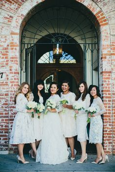 Vintage-inspired bridesmaid dresses   Photo by Phil Chester   Planning WINK Weddings   Read more - http://www.100layercake.com/blog/?p=75493