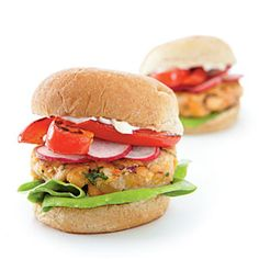 Serve each burger on a whole-grain slider bun with lettuce, crisp radish slices, roasted red bell pepper, and canola-based mayonnaise. Two burgers per person! View Recipe: Middle Eastern Chickpea Miniburgers