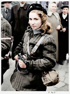 Erika, a Hungarian fighter who fought for freedom against the Soviet Union. [October - 52 Photos of Powerful Women Who Changed History Female Hero, Female Soldier, Mädchen In Uniform, Colorized History, Military Women, Military History, Hungarian Girls, Portraits, Red Army