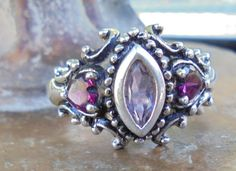 Vintage pink tourmaline amethyst sterling silver size 9 ring by TheVintageAdvantages on Etsy