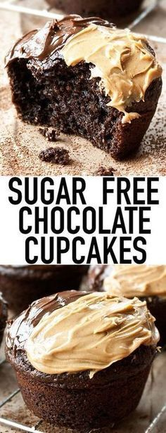 These easy SUGAR FREE CHOCOLATE CUPCAKES from scratch are made with no sugar. They are still incredibly soft and moist! This easy cupcake recipe uses Splenda and it's perfect for diabetics! From cakew(Fitness Recipes Dessert) Sugar Free Cupcakes, Sugar Free Deserts, Sugar Free Treats, Sugar Free Muffins, Food Cakes, Low Carb Desserts, Healthy Desserts, No Sugar Desserts, Diabetic Friendly Desserts