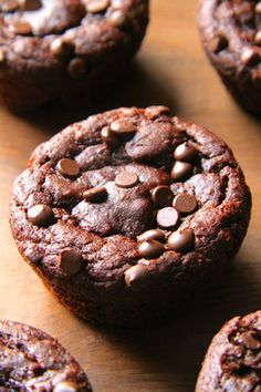 These flourless chocolate pumpkin muffins are gluten-free, grain-free, oil-free, and refined sugar-free, but you'd never be able to tell they're healthy! Muffins Sans Gluten, Dessert Sans Gluten, Gluten Free Desserts, Healthy Desserts, Healthy Treats, Flourless Muffins, Flourless Chocolate, Muffins Sains, Chocolate Pumpkin Muffins