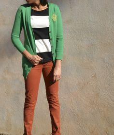Rust Jeans + Black/White Wide Stripe Top + Green Boyfriend Cardi