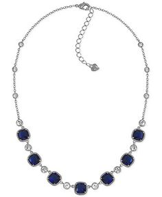 Carolee Silver-Tone Blue Stone and Crystal Frontal Necklace