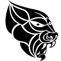Rabid animal illustration in tribal style