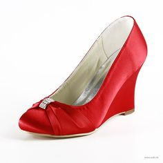 """rustic weddin Gorgeous 3.5"""" Bowknot Crystal Brooch Peep-toe Wedges - Red Party shoes (11 colors) $66"""