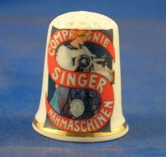 FINE-PORCELAIN-CHINA-THIMBLE-SINGER-LOGO-GERMANY-FREE-GIFT-BOX