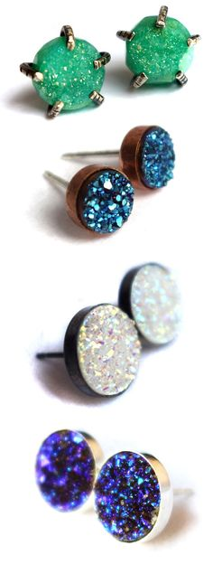 Colorful Druzy Earrings by Rachel Pfeffer. Can't find these earrings but this site has some CUTE stuff.