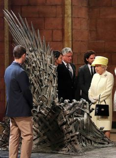 Queen Elizabeth II visiting the Belfast set of Game of Thrones.