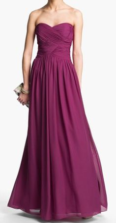 Strapless ruched chiffon gown http://rstyle.me/n/fi5xqnyg6