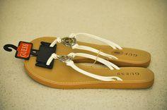 GUESS CLARA 2 Women Flip Flops Sandals White Gold Logo Rhinestone size 8 NEW #GUESS #FlipFlops #Casual