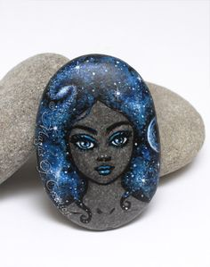 Original painting on stone, fantasy rock art paper weight for lovers of space and celestial objects