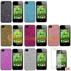 10 Accessory Bundle Bling Glitter Diamond Hard Case Skin Cover for iPhone 4S 4th   eBay