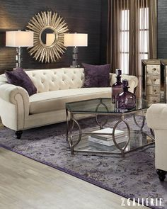 Sunburst mirror, grasscloth wallpaper, curved sofa, luxury interior, mirrored furnishings, transitional interior, contemporary style #traditionaldécorlivingroom