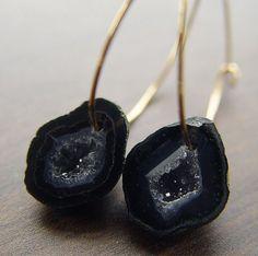 Black Agate Druzy oorbellen in 14 k goud OOAK door friedasophie