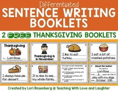 FREE Thanksgiving Sentence Writing Booklets by Teaching With Love and Laughter Learning To Write, Student Learning, Learning Activities, Teaching Ideas, Speech Language Therapy, Speech And Language, Language Arts, Free Thanksgiving Printables, Sentence Writing