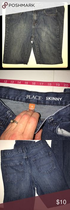 "⭐️Children's Place Boys SZ 14 Skinny Jeans⭐️ I bought about 10 pairs of jeans last spring in the hopes they would be the right size come fall, but I didn't realize my son would bypass two sizes in one season! All of the PLACE jeans have been worn ""maybe"" 3x, if any! They in better then Excellent EUC without any signs of wear at ALL!! The Children's Place Bottoms Jeans"