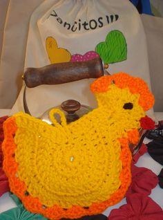 Agarradera gallinita. Crochet