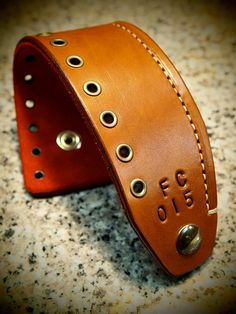 Leather Cuff Bracelet Brown Tan hand made Red Suede lined aged