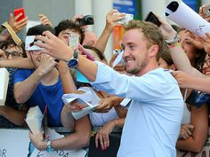 Slytherin for a selfie! Harry Potter alum Tom Felton poses for some decidedly magical photos with fans at Italy's Giffoni Film Festival in Giffoni Valle Piana.