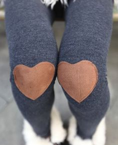 Red Heart Patched Leggings, Tights In Grey || cuteshop via Luulla