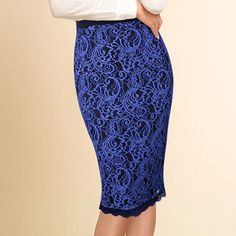 Elegant Floral Lace High Waist Bodycon Fitted Skirt