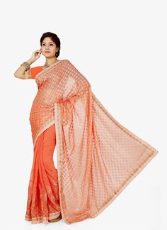 Shop saree online. Buy this stupendous peach designer saree for party and festival. Shop now! Customization & worldwide free shipping.
